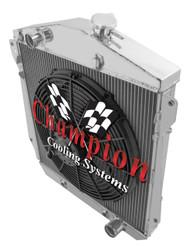 1943 44 45 46 47 48 Chevrolet Cars Champion 3 Row Core Aluminum Radiator For V8 Conversion Fan Combo