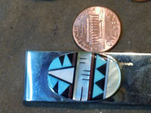 Zuni Indian Jewelry Mens Turquoise Shell, multi stone Inlay Money Clip by Esalie