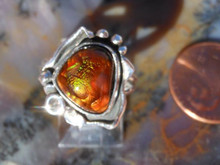 New Sterling Silver and Fire Agate Gem ring size 5 2/3