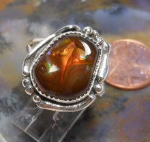 New Sterling Silver & Fire Agate Gemstone handmade ring size 8 3/4    255a