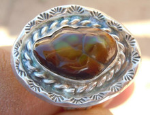 New Mens Sterling Silver Jewelry 6.17 cts Fire Agate Gemstone Ring size 11 3/4