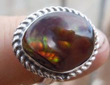 New Jewelry Silver & Fire Agate Gemstone Ring Size 7 3/4