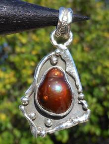 New Jewelry Silver & Fire Agate Gemstone Pendant