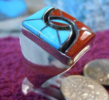 Mens Turquoise Coral Inlay Ring Amy Quandelacy Size 10 1/3 Zuni Indian