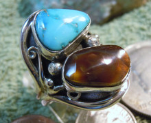 Mens New Fire Agate Turquoise Sterling Ring by Navajo Lorenzo James Size 10