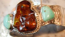 Large Fire Agate Sterling Silver Bracelet with Tyrone Turquoise Gemstones