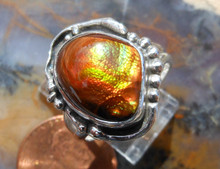 New Sterling Silver and Fire Agate Gem ring size 7 1/3   a248