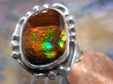New Sterling Silver and Fire Agate Gem ring size  8 7/8 a250