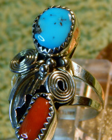 New Ladies Sterling Turquoise Coral Ring by Willie Mariano Size 7 1/3