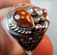New Mens Sterling Silver Fire Agate Gemstone Ring Size 11 1/2