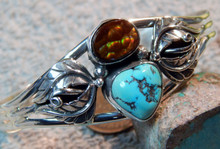 New Sterling Turquoise Fire Agate Bracelet By Navajo Lorenzo James