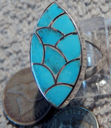 New Turquoise Fish Scale inlay Ring by Zuni Carol Haloo size 5 2/3