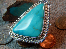 New Ladies Sterling Turquoise Ring Navajo T. Francisco Size 9 2/3