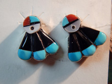 New Turquoise Coral MOP Sterling Sunface Inlay Earrings Zuni Clayton Vacit
