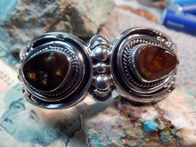 New Solid Sterling Silver Fire Agate Bracelet  Navajo Lorenzo James