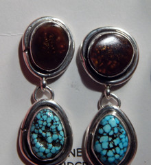 New Sterling Silver Fire Agate Turquoise Earrings Navajo Artist Lorenzo James