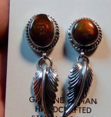 New Sterling Silver Fire Agate Leaf Earrings Navajo Artist Lorenzo James