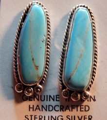 Sterling Silver Royal Beauty Turquoise Earrings by Navajo Artist Lorenzo James
