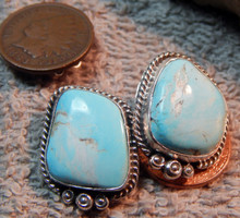Sterling Silver Royal Beauty Turquoise Earrings by Navajo  Artist Lorenzo James