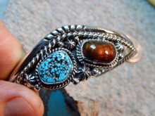 Black Spiderweb Turquoise Fire Agate Sterling Bracelet Navajo Lorenzo James