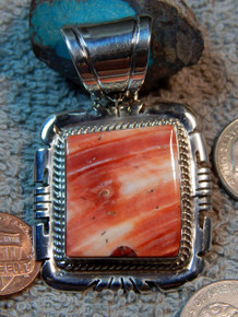 New Navajo Sterling Silver Spiny Oyster Pendant Handmade  Jon McCray