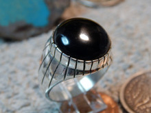 New Mens Onyx Sterling Silver Ring Navajo by Ray Jack Size 10 1/8