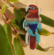 Turquoise Lapis MOP Sterling Silver Macaw Inlay Pendant Zuni Harlan Coonsis