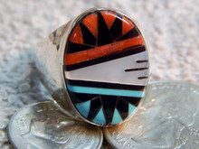 Mens Silver Turquoise Inlay Ring Gladys Lamy size 12 3/8 Zuni Indian Jewelry