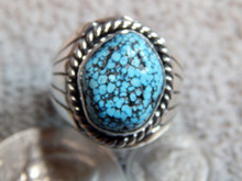 Mens Black Spiderweb Turquoise Sterling Ring Navajo Charles Charley Size 10 1/8