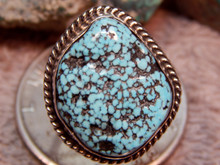 Mens Black Spiderweb Turquoise Sterling Ring Navajo Charles Charley Size 11 1/4