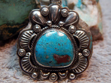 New Sterling Silver  Bisbee Turquoise Pendant Navajo Lorenzo James