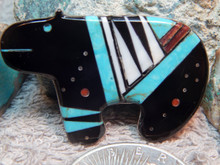 New Sterling Silver Turquoise Jet Bear Pin Navajo G. Smith