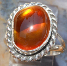New Sterling Silver and Fire Agate Gem ring size  5 2/3         ape114
