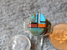 Light Weight Mens Ring Sterling Turquoise Spiny Inlay Navajo Mary L size 10 3/4