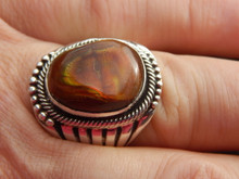 Mens Sterling Silver  17 ct Fire Agate Ring Navajo Russel Sam Size 12 1/4 New