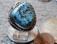 New Mens  Black Spiderweb Turquoise Sterling Ring Navajo Russel Sam Size 11 1/4