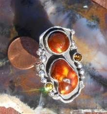 New Sterling Silver and Fire Agate Gem ring size  8 3/4         D16