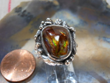 New Sterling Silver and Fire Agate Gem ring size  6 2/3         D27