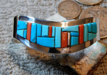 Turquoise Inlay Sterling Silver  Bracelet Navajo Artist Edward Becenti  New