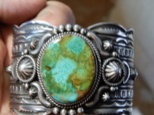 Solid Sterling Silver Cuff Bracelet Royston Turquoise Gene Natan New