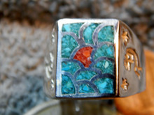 Mens Sterling Silver Turquoise & Coral Mosaic Inlay Ring size 10 1/4 Kokopelli