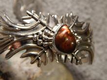 Sterling Silver Fire Agate Bracelet  by Navajo Artist Emer Thompson New