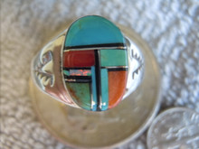 Light  Weight Mens Ring Sterling Turquoise Spiny Inlay Navajo Mary L size12 3/4