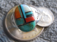 Light Weight Mens Ring Sterling Turquoise Spiny Inlay Navajo Mary L New size 10
