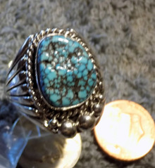 Mens New Black Spiderweb Turquoise Sterling Ring Navajo Russel Sam Size 13 1/4