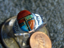 Light Weight Mens Ring Sterling Turquoise Spiny Inlay Navajo Mary L size 13 1/2