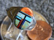 Light Weight Mens Ring Sterling Turquoise Spiny Inlay Navajo Mary L size 13 1/4