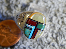 Light  Weight Mens Ring Sterling Turquoise Spiny Inlay Navajo Mary L Size 10 1/4