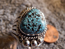 Mens New Black Spiderweb Turquoise Sterling Ring Navajo Russel Sam  Size 10 1/4