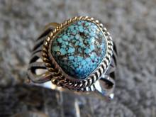 Mens Black Web Turquoise Sterling Silver Ring by Navajo Russel Sam  Size 11